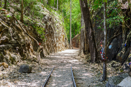 Hellfire pass, Death Railway - The Second World War memorial in Kanchanaburi, Thailand.