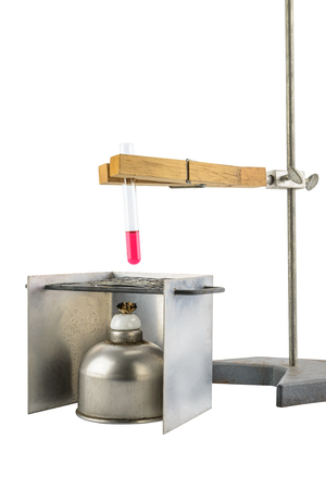 test tube holder: Laboratory equipment test tube holder, Clamps, hanging, stand and alcohol lamp, test tube  isolated on white background with  clipping path