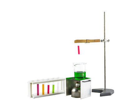 test tube holder: Laboratory equipment test tube holder, Clamps, hanging, stand and alcohol lamp, scientific test tube  isolated on white background with  clipping path Stock Photo