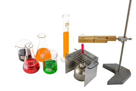Laboratory equipment test tube holder, Clamps, hanging, stand and alcohol lamp, scientific test tube  isolated on white background with  clipping path Stock Photo