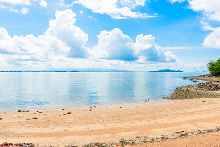 Reflex picture of beach, sea and blue Sky in Kung Krabaen Bay Chathaburi Province, Thailand Stock Photo