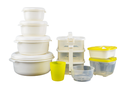 Set Of Empty tupperware, containers for food isolated on white background with clipping path Foto de archivo