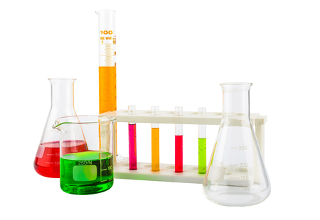 erlenmeyer: Chemical laboratory glassware with liquid Erlenmeyer flask on white background with clipping path