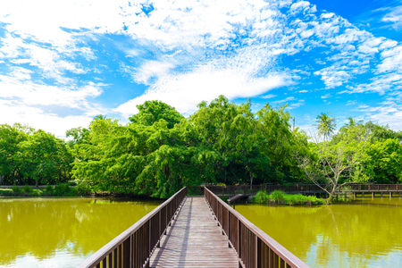 Wooden bridge walkway in Sri Nakhon Khuean Khan Park and Botanical Garden. Bang krachao, Phra Pradaeng, Samut Prakan, Thailand