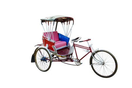 Thailand rickshaw three, red color vintage oriental rickshaw cab, isolated on white background Foto de archivo