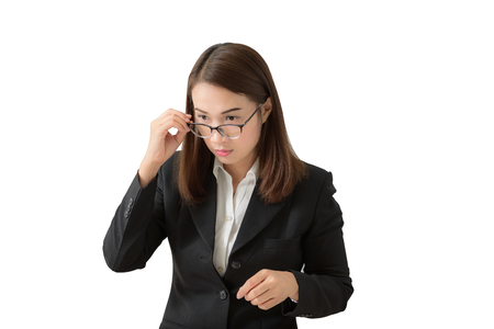 Frightened and stressed young business woman Hand holding glasses and open mouth her Eye staring to something. on white background Stock Photo