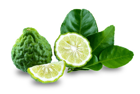 fresh bergamot fruit with leaf isolated on white background with clipping path