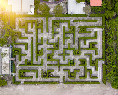 Aerial view of Garden Decoration is a maze with Green leaves wall fence with concrete bush or shrub trimming. Top view