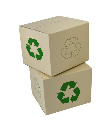 Cardboard boxes with Recycle Sign in different sizes stacked boxes isolated on white background 免版税图像