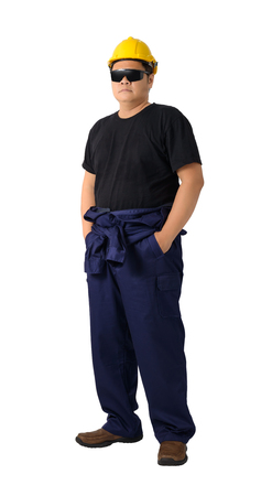 full body portrait worker standing with Mechanic Jumpsuit isolated on white background