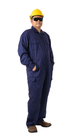 Full body portrait of a worker in Mechanic Jumpsuit with helmet and Safety goggles isolated on white background Imagens