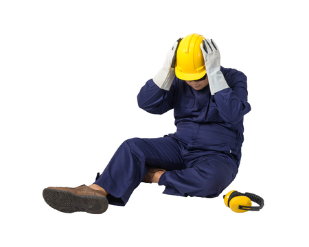 worker in Mechanic Jumpsuit with helmet, earmuffs, Protective gloves and Safety goggles had an accident at work isolated on white background clipping path Imagens