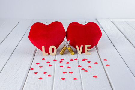 Valentines Day background with Red Heart shape, Wooden letters word
