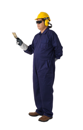 Full body portrait of a worker in Mechanic Jumpsuit is holding a paint brush with helmet, earmuffs, Protective gloves and Safety goggles isolated on white background clipping path