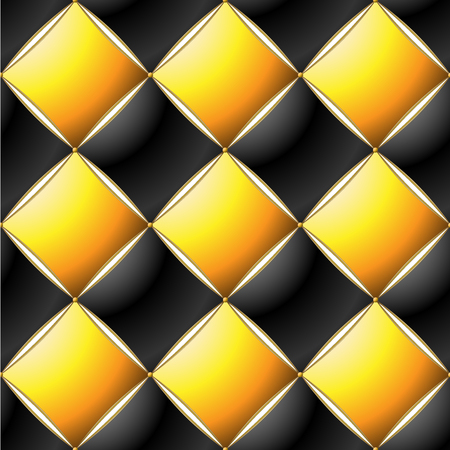 Background of Elegant Quilted Pattern Vip Black, Yellow and Gold line Thread Luxury Expensive Concept Decorative Upholstery Soft Texture with floral pattren on corner