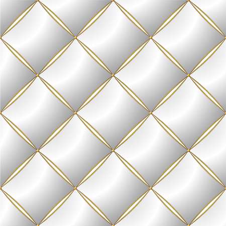Background of Elegant Quilted Pattern Vip White and Gold line Thread Luxury Expensive Concept Decorative Upholstery Soft Texture with floral pattren on corner