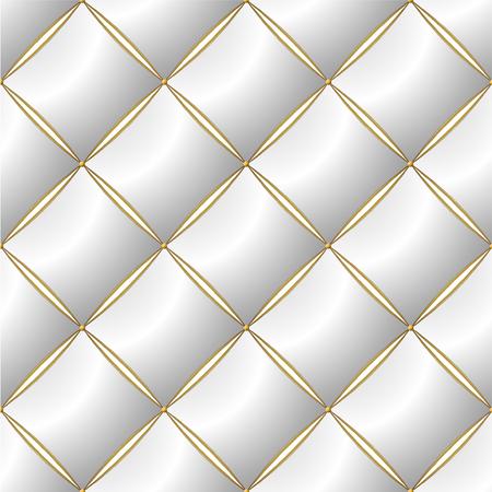 Hintergrund des eleganten Steppmusters Vip White und Gold Line Thread Luxury Teure Concept Dekorative Polsterung Weiche Textur mit Blumenmuster an der Ecke