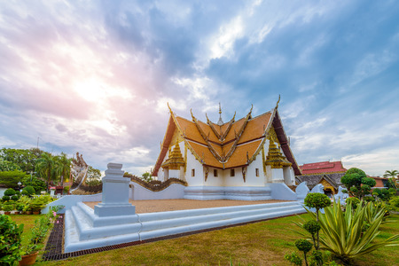 Wat Phumin, Muang District, Nan Province, Thailand. public place, the most famous temple with blue sky in morning 版權商用圖片
