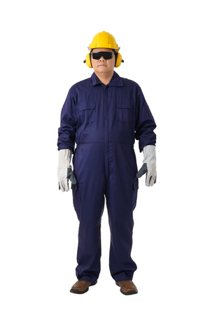 Full body portrait of a worker in Mechanic Jumpsuit with helmet, earmuffs, Protective gloves and Safety goggles isolated on white background clipping path