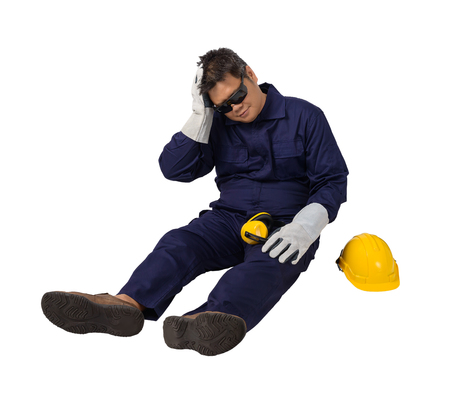 worker in Mechanic Jumpsuit with helmet, earmuffs, Protective gloves and Safety goggles had an accident at work isolated on white background clipping path 写真素材