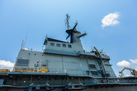 Sattahip, Chon Buri, Thailand, 27 Apr: Close-up pictures of the Chakri Naruebet boat, battleship from the Thai port at Sattahip. Currently open to the public to visit and travel, Thailand. 報道画像