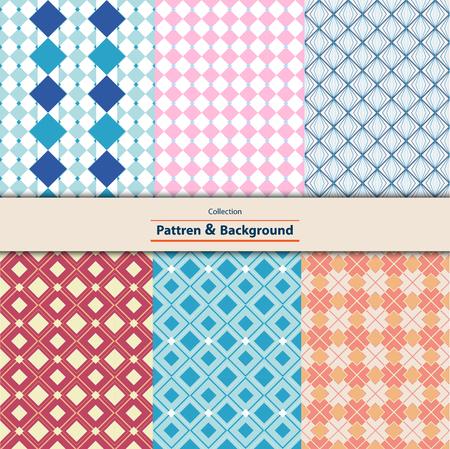 Colección de mosaico retro de patrones sin fisuras de diferentes vectores. Se puede utilizar para papel tapiz, rellenos de patrón, fondo de página web, tela, adornos de texturas