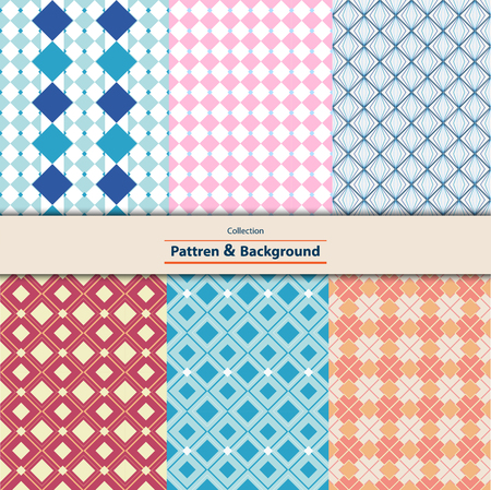 Collection of Retro different vector seamless patterns tiling. Can be used for wallpaper, pattern fills, web page background, cloth, textures ornaments