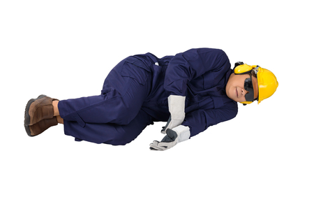 worker in Mechanic Jumpsuit with helmet, earmuffs, Protective gloves and Safety goggles had an accident at work isolated on white background clipping path