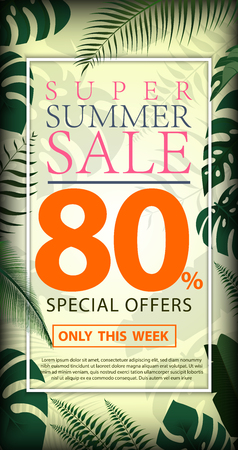 Summer Sale Discount 80% design flyers or poster with exotic jungle plant, palm leaves Vector Design Template with leaves, Floral tropical summer background