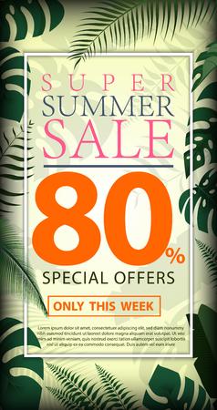 夏季销售折扣80%设计传单或海报与异国情调的丛林植物,棕榈叶矢量设计模板与树叶,热带的夏季背景