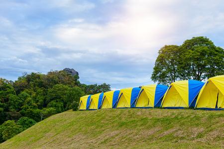 Row of Tent camping place at Doi Samer Dao. Sri Nan national park, Nan Province, Thailand