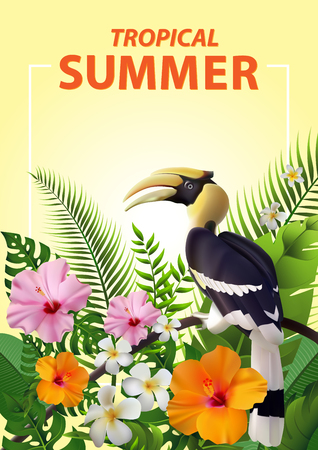 Trendy Summer Tropical Flowers, Leaves, Hornbill. T-shirt Fashion Graphic. Exotic Vector Design