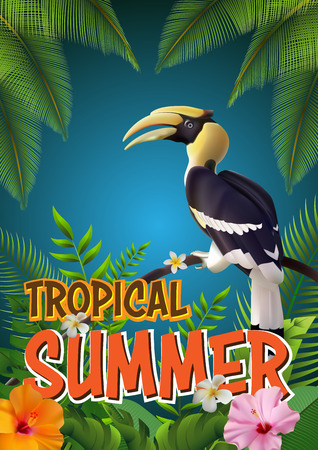 Trendy Summer Tropical Flowers, Leaves, Hornbill. T-shirt Fashion Graphic. Exotic Vector Design Vector Illustration