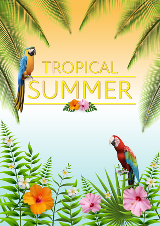 Trendy Summer Tropical Flowers, Leaves, Macore bird. T-shirt Fashion Graphic. Exotic Vector Design Иллюстрация