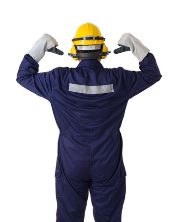 back view portrait of a worker in Mechanic Jumpsuit with helmet, earmuffs, Protective gloves and Safety goggles isolated on white background clipping path