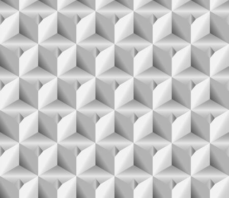 Volume realistic texture, gray 3d Cubes squares geometric pattern, design vector seamless Abstract background. use for wallpaper, webpage, tiling, layout