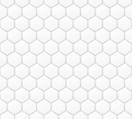 Volume realistic texture, gray 3d Hexagon shape geometric pattern, design vector seamless Abstract background. use for wallpaper, webpage, tiling, layout Ilustração