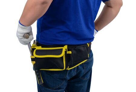 closeup of construction man workers in blue shirt with Protective gloves, helmet with tool belt hand holding hammer isolated on white backround with clipping path