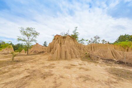 landscape of soil textures eroded sandstone pillars, columns and cliffs, natural erosion of water and wind,