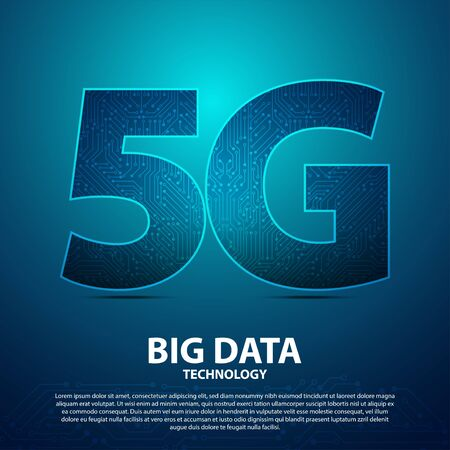 5G Big Data technology with circuit board is background. network connection, fastest internet technology in future Ilustração