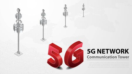 5g Communication Tower Wireless Hispeed Internet with Data center with circuit board is background. LTE aerial network connection, fastest internet in future  イラスト・ベクター素材