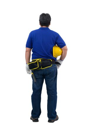Back view of construction man workers in blue shirt with Protective gloves, helmet with tool belt isolated on white backround with clipping path Stockfoto