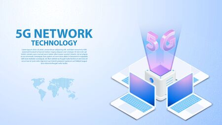 5g Communication Tower Wireless Hispeed Internet with Data center with circuit board is background. LTE aerial network connection, fastest internet in future Ilustrace