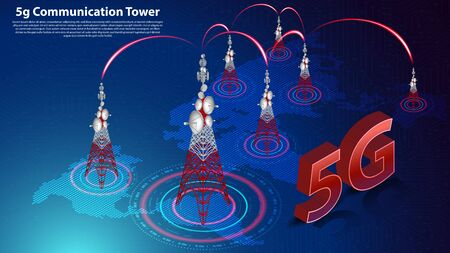 5g Communication Tower Wireless Hispeed Internet with World map and circuit board is background. LTE aerial network connection, fastest internet in future