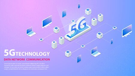 5g Technology Data Network Communication Wireless Hispeed Internet with circuit board is background. LTE aerial network connection, fastest internet in future