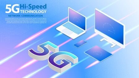 5g Hi-speed Technology Network Communication Wireless Internet with circuit board is background. LTE aerial network connection, fastest internet in future Ilustrace