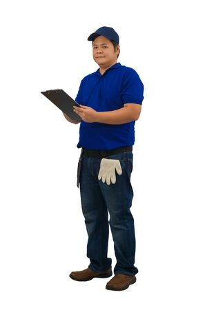 asian delivery man working in blue shirt with Waist bag for equipment hand holding clipboard for checklist or receiving form isolated white background