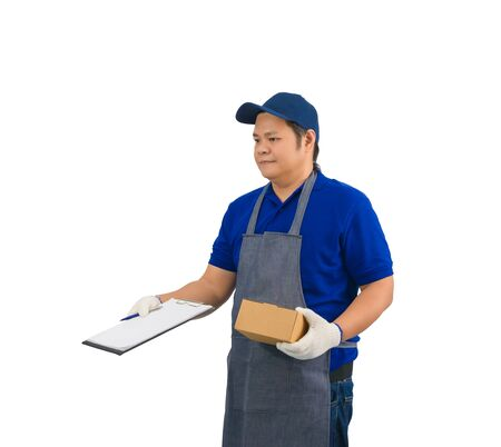 asian delivery man working in blue shirt with apron and protective gloves hand holding parcel and presenting receiving form for signing isolated white background