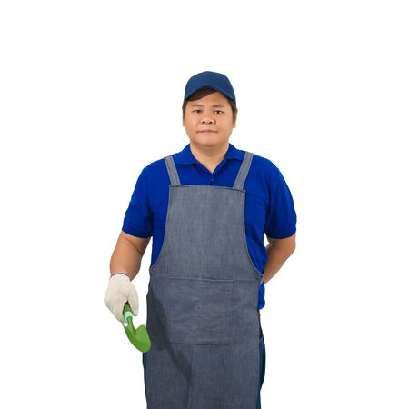 asian worker man in blue shirt with apron and protective gloves hand holding shovel isolated on white background