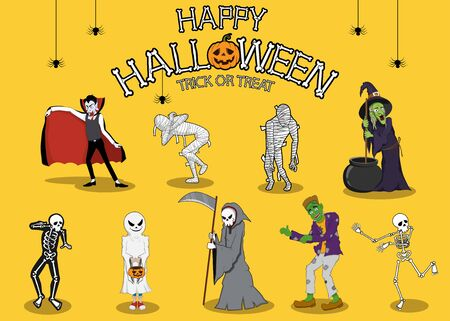 collection set of halloween monster costume. character design with simple color and easily editable layers Фото со стока - 132101865